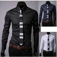 Mens Dress Shirts Camisa POLO Social Masculina Slim Brand Casual-Shirt Korean Style Men Clothing Mens Plaid Shirts Fashion 2014