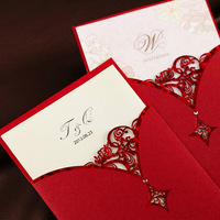 Free Shipping Personalized Cutout Design Red Wedding Invitation (Set of 50)