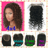 Queen Hair Products Free Shipping Brazilian Virgin Hair Deep Wave 4x4 Top Lace Closure Lace Front Closure Brazilain Virgin Hair