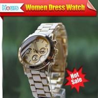 Best Selling Product 2014 Rhinestone Rose Gold Casual Watch Women Luxury Dress Watches Men Full Steel Watch Free Shipping