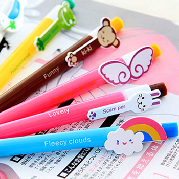 10pcs/lot 6 designs Cute Cartoon Kawaii Novelty Ballpoint Pens Lovely Cat Bird Ball Pen Korean Stationery Free shipping 014(China (Mainland))