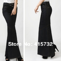 Free Shipping 2013 New Fashion Long Formal Skirts For Women Plus Size Jeans Skirts With Slit  Mermaid Style Denim Maxi Skirts