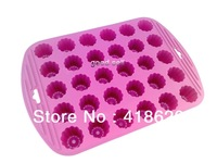 Silikit Free shipping wholesale 100% silicone cake mould baking tools silicon molds baking supplies 30 mini flower cupcakes