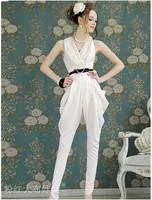 Discount!! Summer 2013 Chiffon Jumpsuit Sleeveless Harem Rompers V-neck Floral Romper Skinny Overalls White Jumpsuit for Women