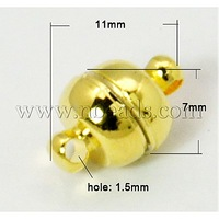 Stock Deals Brass Magnetic Clasps,  Oval,  Golden,  11x7mm,  Hole: 1.5mm