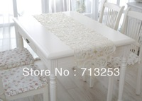 Free shipping chinese style high quality white elagance table runners classical table flag(40*180cm )No.461