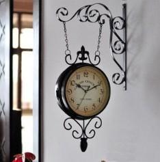 Rustic Wrought Iron Wall Clock Nostalgic Ancient Way Metal Watch Vintage Quartz Mute Antique Double Faced Clocks Home Decor