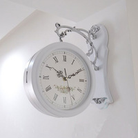 Fashion double faced clocks rustic double faced quartz wall clock