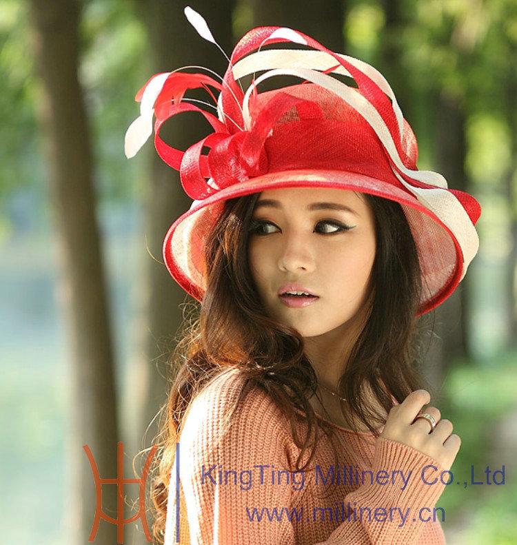 Free Shipping Women Red Hat Church Sinamay Hat Sinamay Ribbon Sinamay Fabric Ladies' Hat Women Top Beautiful Hat(China (Mainland))