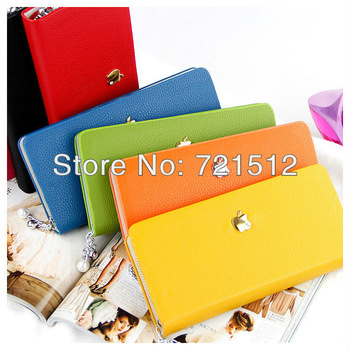 Pearl chain zipper leather wallet fashion apple pattern mini women's wallet 21 * 10.5cm 7 colors free shipping