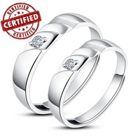 (2 pieces /a pair) 100% Solid Sterling silver 925 ,18k gold plated ,Lovers Open engagement Ring sets,  wholesale price