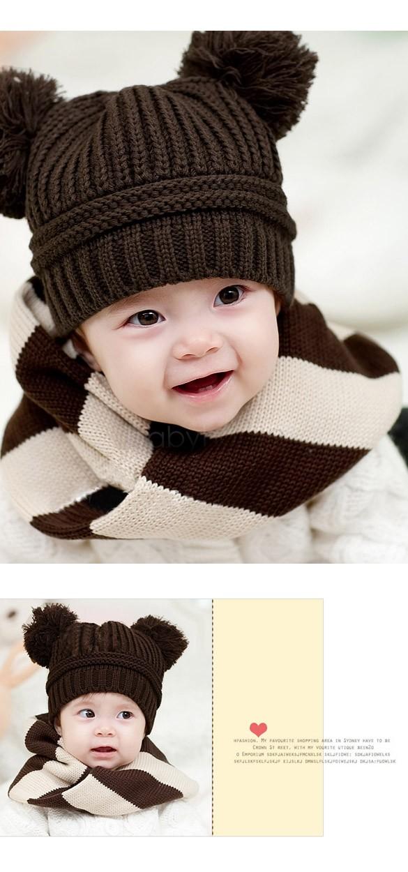 2014 New Fashion Korean Flash Drill Baby Hats Love Dual Ball Knitted Girls/Boys Wool Caps free shi