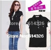 Women Clothing 2014 Autumn -Summer Short Sleeve Slim Cotton T Shirt Women Single Pocket Tops plus size T-shirts S-4XL #DH2035