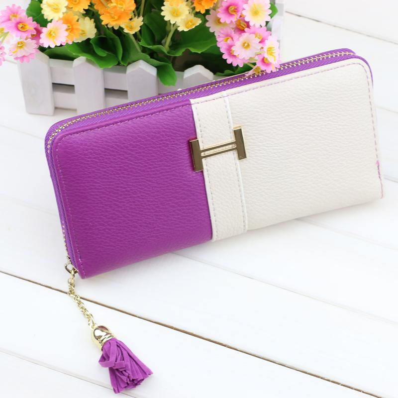 Wallet zipper long Wallet Women Fringe Purse Wrist Clutch Zipper PU leather Card Slot Evening Party Bag CW02(China (Mainland))