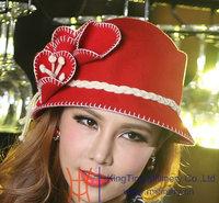 Women Dress Hat Women Wool Felt Hat Winter Hat Top Hat Millinery Chapeau Red Grey