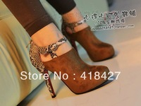 Drop Shipping 2013 Designer Women Platform Pumps Vintage Flock Short Boots Snack Print Sexy High Heels Shoes
