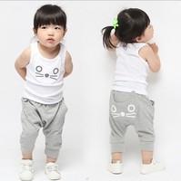 Free shipping ! Girls' suits girls cute cotton sleevless T-shirt + Short pants,Summer wear 5 Sets/Lot 2 Colors ((BGT-189))