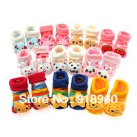Newborn Socks/Baby Kids Infant Shoes Socks/1-7 Months Old Toddler Three-dimensional Cartoon Animal Sock/10 pcs/lot 18 Colors/ATE