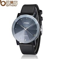 2014 New Arrival Leather Dress Watch Black and White Analog Quartz Man Fashion Lover Wristwatch ZBG1008