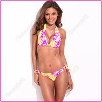 New Fashion Women Split Floral Pattern Bikini Set Swimwear Swimsuit S/M/L Optional Free Shipping