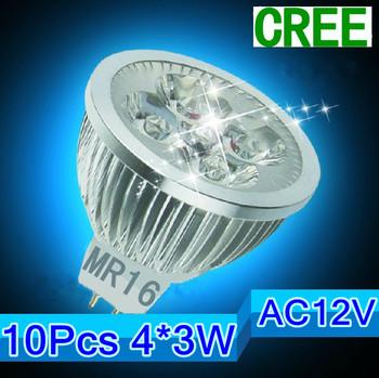 Free shipping 10X High power MR16/gu10/e27/e14 4X3W 12W 12V Dimmable Light lamp Bulb LED Downlight Led Bulb Warm/Pure/Cool White