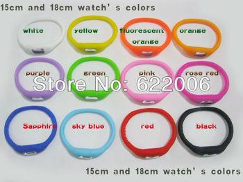 18cm for fat people Fashion Wrist sport Watch\1 ATM waterproof anion silicone watch \Wrist watch wholesale OPP packaging