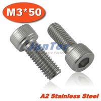 100pcs/lot DIN912 M3*50 Stainless Steel A2 Hex Socket Head Cap Screw