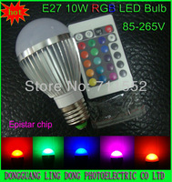 Wholesale and retail 5pcs/lot RGB LED Lamp E27 9W 10W led Bulb lamp & 16 Color RGB Remote Control  85-265V