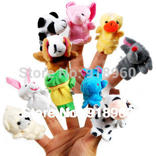Free Shipping 15 pcs/lot Baby Plush Toy/Finger Puppets/Tell Story Props(10 animal group)Animal Doll /Kids Toys/Children Gift/TOB(China (Mainland))