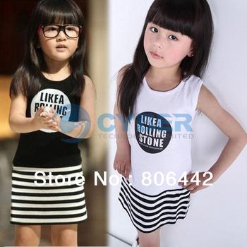 2013 New Girl Striped Dress Kid Children's Simple Style Cotton Sleeveless Vest Dress  13306