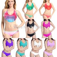 2014 Summer Padded Boho V Neck Fringe Tassel Bikini Swimsuit Women Swim Wear Sexy Bathing Suit Swimwear 6 Colors SML