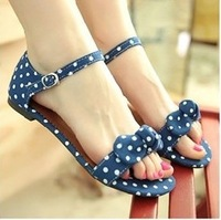 Summer dot bow flat female shoes open toe buckle sandals plus size sandals