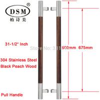 DSM Black Peach Wood and 304 Stainless Steel Wooden Door Handle PA-202-38X800mm