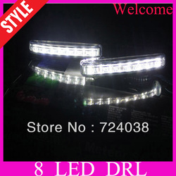 Wholesale discount New 2PCS Super White 8 LED Universal Car Light Daytime Running auto lamp DRL(China (Mainland))