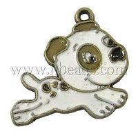 Alloy Enamel Pendants,  Dog,  Lead Free & Cadmium Free & Nickel Free,  White,  about 22mm long,  16mm wide,  1mm thick