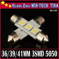 New arrive Free Shipping 10pcs/lot 41mm/42mm 3 SMD 5050 LED SMD Festoon Dome Light 12V White LED Reading Light Lamp