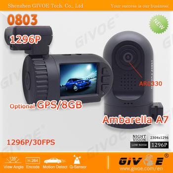 Original Mini 0801 0803 Ambarella Black Box Car DVR with A7LA50D/A2S60 AR0330/OV2710 1296P/1080P Optional GPS/8GB Backup #2212