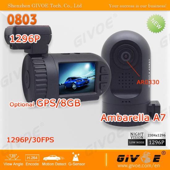 Original Mini 0801 0803 Ambarella Black Box Car DVR with A7LA50D/A2S60 AR0330/OV2710 1296P/1080P Optional GPS/8GB Backup #2212(China (Mainland))