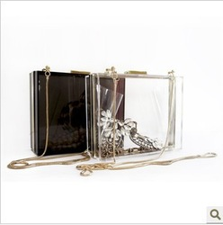 2013 brief transparent Dark brown Green clutch designer smile fashion evening acryl bag free shipping(China (Mainland))