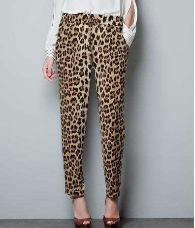 KZ77 New Fashion womens' Leopard print pants elegant slim look loose trousers casual leisure brand designer pants S-XXL(China (Mainland))