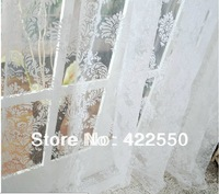 Malaysian flower flocking tulle sheer curtains fabric curtains custom made living room bedroom