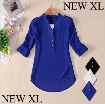 2014 Chiffon Women Spring V-neck Elegant  Casual Foldable Sleeves Blouses Shirts White Blue Black XLTops