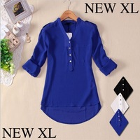 2014 Chiffon Women Spring V-neck Elegant  Casual Foldable Sleeves Blouses Shirts White Blue Black XLTops