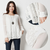 L~4XL!! Spring Autum New Ladies Fashion Plus Size XXXXL Elegant Blouses Full Sleeve Ruffle Lace Chiffon Tops White Black Shirts