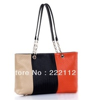 Stripe Woven Designers Brand Women Leather Handbags Chain Messenger Bags New 2014 High Quality Designer Shoulder Bags 3 Colors