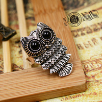 Antique Bronze & Silver Tone Owl Fine Rings Zinc Alloy men and women jewelry ring findings (Min.order is $10 mix order)