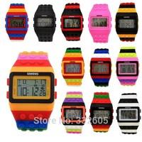 Rainbow Multicolor Bricks LED Watches 2014 SHHORS Fashion Rubber  Digital Sports Week Night Light Wristwatch For Women Lady Men