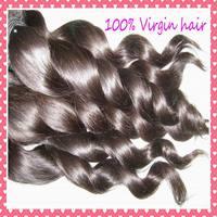 "Nice Spiral curl Brazilian  LOOSE wave virgin hair weaves bundles 12-28"",cuticle aligned , 4pcs/lot,free shipping to USA"