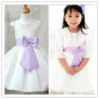Princess girl dress/White girl dress with shining small pearl/Short sleeves baby girl dress with purple bowknot belt