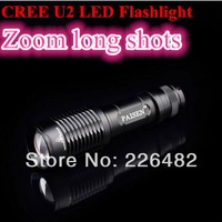 Free Shipping  New CREE XML U2  2000 lumens  Flashlight  Torch  5 Modes  High Power  Zoomable Camping  Handlight  Lantern